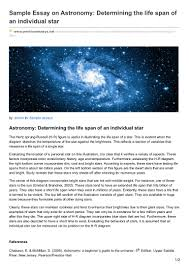 premiumessays net sample essay on astronomy determining the life span