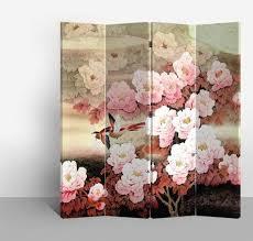 screen 4 panel pink flowers l160xh180cm