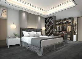 walk in closet bedroom. Download 3d Rendering Luxury Modern Bedroom Suite In Hotel With Wardrobe And Walk Closet Stock