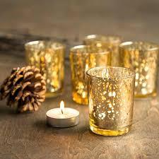 candles mercury glass votive candle holder set of gold tea light speckled