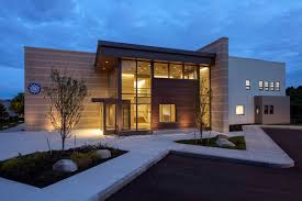 contemporary office building. Architectural Brown And White Nuance Modern Glass Office Buildings With Warm Lamp Concrete Yard Can Add The Touch Inside House || Zaxue Contemporary Building C