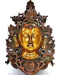 aone india tara buddha wall hanging mask brass metal wall sculpture face wall art on buddha wall art metal with summer shopping special aone india tara buddha wall hanging mask