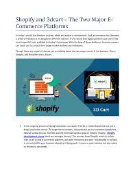 3dcart Website Design Shopify And 3dcart The Two Major E Commerce Platforms By