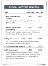 Minutes Of The Meeting Meeting Minutes Sample