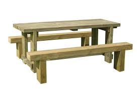 forest garden 180cm sleeper bench and refectory table set 385