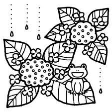 カエルとアジサイ梅雨夏の季節6月の行事無料白黒イラスト素材
