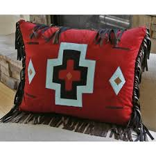 turquoise chamarro red cross pillow carstens