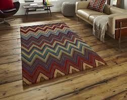 aztec zig zag design multicoloured wool rugs