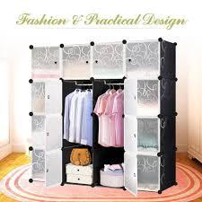 hot diy 16 cube portable closet storage organizer clothes wardrobe cabinet u6p0