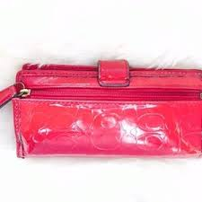 Coach Bags - Coach Red Patent Gloss Leather Wallet Heart Charm