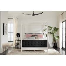 white metal furniture. dhp soho modern white metal with black linen queen canopy bed furniture