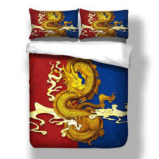 2018 new dragon bedding 3d printing duvet cover red blue bedding set single twin full queen king size bedlinen hzdt08397