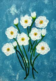 white flowers acrylic on canvas painting