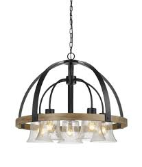 cal lighting fx 3662 5 bell 5 light chandelier in black wood with glass shade