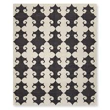medallion flatweave rug black and white williams sonoma home