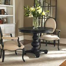 This is a beautiful ebony black stained solid wood beam and iron pipe table base. Brynmore Farmhouse Xxl 42 Round Satin Black Wood Accent Dining Table Pedestal 792977243107 Ebay