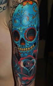 Blue Mexican Sugar Skull Tattoo On Arm Tattoos Book 65000