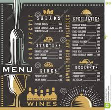 Abstract Menu Design Wine And Food Menu Design Concept Stock Vector