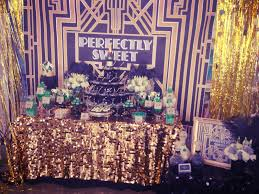 decoration: Astounding Table For Great Gatsby Party Decorations Completed  With Cups And Beverages Plus Snacks