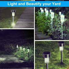 10pcs outdoor yard solar led walkway pathway garden lights lamp landscape light