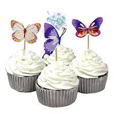 Amazoncom Garden Butterfly Flowers Cupcake Toppers Picks Girls