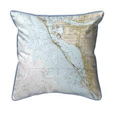 Sarasota Bay Nautical Chart Sarasota Bay Florida Nautical Chart 22 X 22 Pillow