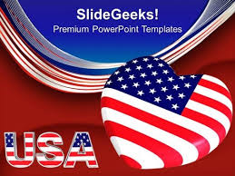 American Flag Powerpoint Usa Flag With Heart Americana Powerpoint Templates And