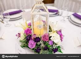 Wedding Reception Arrangements For Tables Candle Lantern Wedding Reception Centerpieces Stock Photo