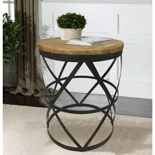 industrial reclaimed wood round end table
