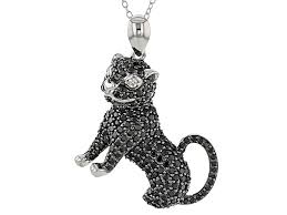 black spinel sterling silver cat pendant with chain 3 32ctw psh182 jtv com