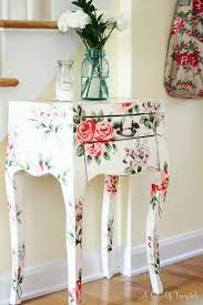 floral decoupage furniture. A Sort Of Fairytale: Cottage Style And Color. Love This Side Table Its Floral Prints Decoupage Furniture E