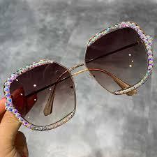 2019 Luxury <b>oversized sunglasses</b> women exquisite <b>crystal</b> sun ...