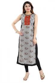 Sleeveless Long Kurti Designs Graceful Attire Ash Grey Fancy Fabric Sleeveless Long Kurti Indian