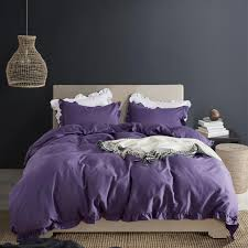 romantic purple bedding set ruffle edge duvet cover pillowcase sets home wedding decoration king queen twin bed in stock king size duvet covers