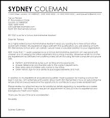 school cover letter school administrative assistant cover letter sample livecareer