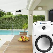 btp525 wireless 5 25 bluetooth 2 way outdoor patio speaker pair composite resin low