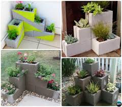concrete block garden wall diy corner cinder planter 10 simple garden home design