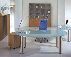 modern office desks ideas with transpa glass top executive desk in round shape with metal