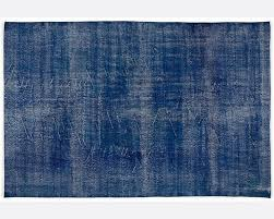 vintage handmade over dyed rug in blue 001 living room by all the hues
