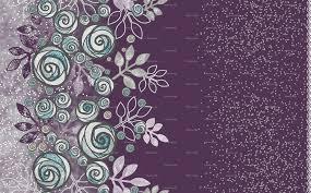 Floral Rose Border In Purple Gray And Aqua Wallpaper Amborela