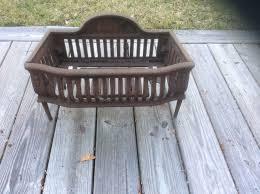 antique cast iron fireplace grate coal box basket wood log holder insert 195 20