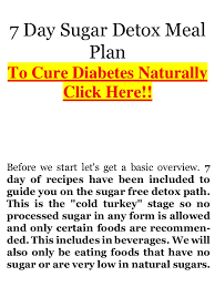 7 day diabetic meal plan diabetes ebook no sugar diet complete 7 day detox plan 27 sugar free