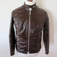 details about vine original schott cafe racer leather jacket 1970 s sz 12 brown pile liner