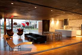 Open Living Room Kitchen Designs House Ff Modern Open Air Home Overlooking The Swimming Pool