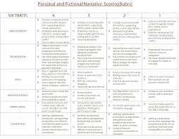traits personal and fictional narrative scoring rubric writing 6 traits personal and fictional narrative scoring rubric