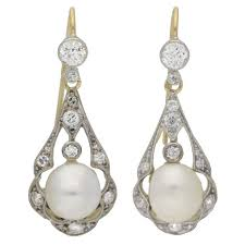 antique natural pearl diamond gold platinum chandelier earrings for