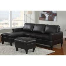 Poundex Pc Black Faux Leather Apartment Size Sectional Sofa With