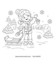 Small Picture Coloring Page Outline Cartoon Boy Girl Stock Vector 541149658