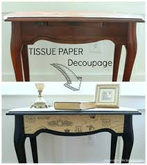 decoupage ideas for furniture. $5 Thrifty French TISSUE Paper Decoupage Table Makeover - Before-and-After Artsychicksrule.com #decoupage #french Ideas For Furniture F