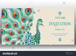 Peacock Invitations Invitation Card Templates Peacock Patterned Crystals Stock Vector
